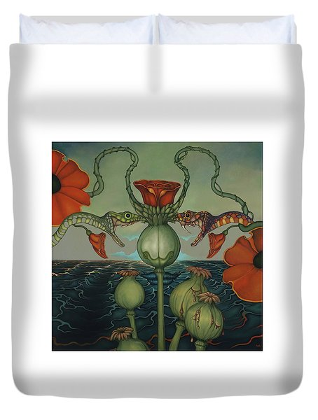 Duvet Cover featuring the painting Harvesters by Andrew Batcheller
