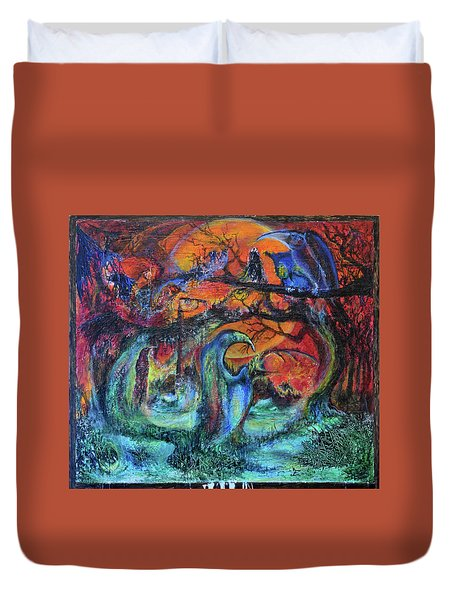 Harvesters Of The Autumnal Swamp Duvet Cover by Christophe Ennis
