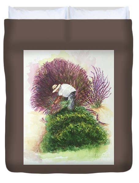 Duvet Cover featuring the painting Harvesting Lavender by Lucia Grilletto