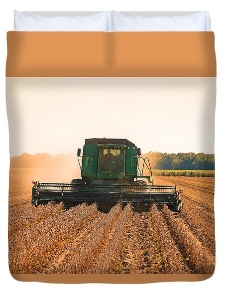 Harvesting Soybeans Duvet Cover by Ronald Olivier