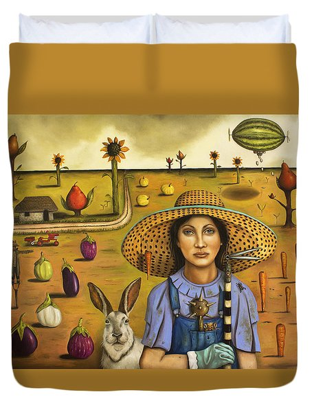 Harvey And The Eccentric Farmer Duvet Cover by Leah Saulnier The Painting Maniac