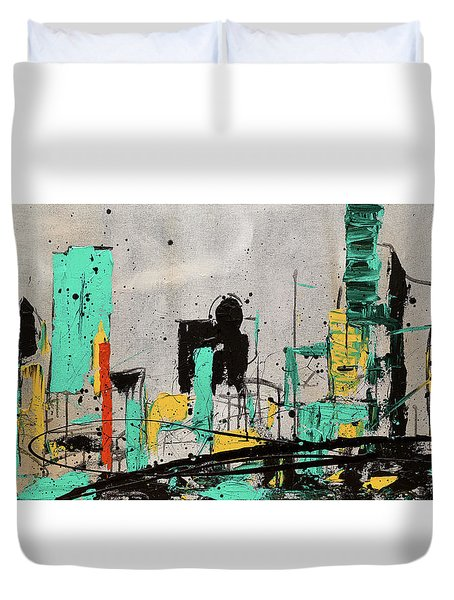 Duvet Cover featuring the painting Hashtag City by Carmen Guedez