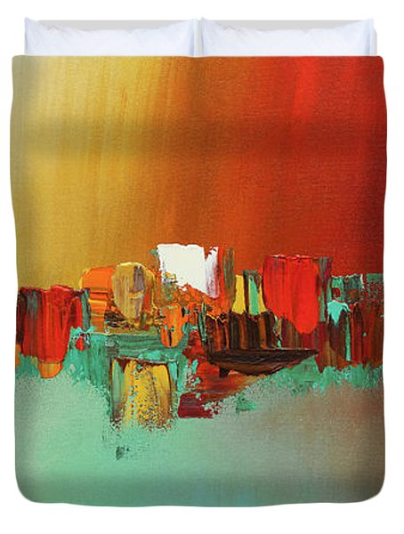 Hashtag Happy - Abstract Art Duvet Cover