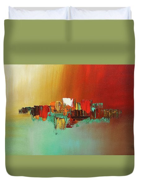 Duvet Cover featuring the painting Hashtag Happy - Abstract Art by Carmen Guedez