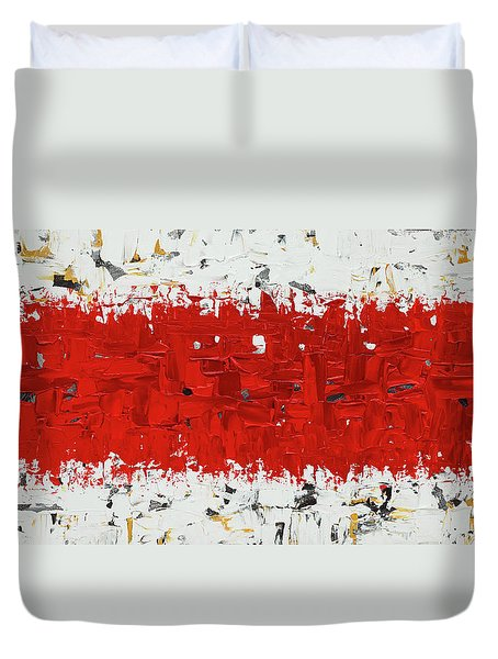 Duvet Cover featuring the painting Hashtag Red - Abstract Art by Carmen Guedez
