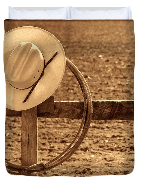 Hat And Lasso On A Fence Duvet Cover