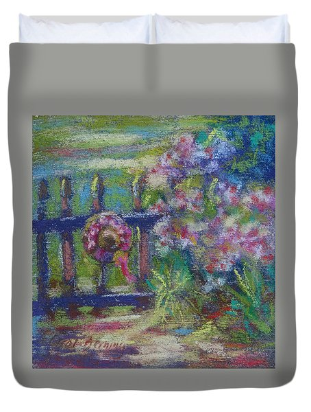 Duvet Cover featuring the painting Hat On The Garden Gate by Carol Berning