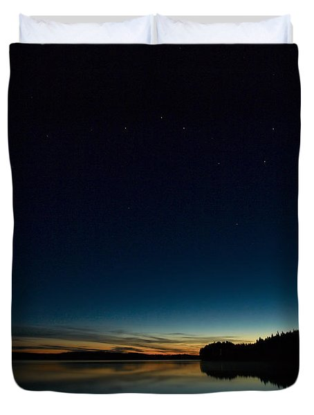 Duvet Cover featuring the photograph Haukkajarvi By Night With Ursa Major 2 by Jouko Lehto