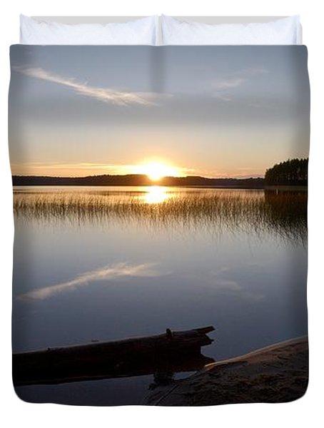 Duvet Cover featuring the photograph Haukkajarvi Evening by Jouko Lehto