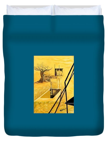 Duvet Cover featuring the drawing Haunted Dreams by Elly Potamianos