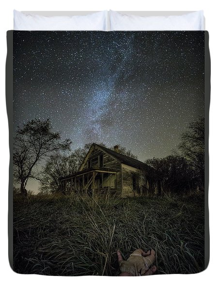 Duvet Cover featuring the photograph Haunted Memories by Aaron J Groen