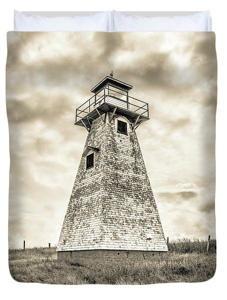 Haunted Old Lighthouse Infrared Duvet Cover