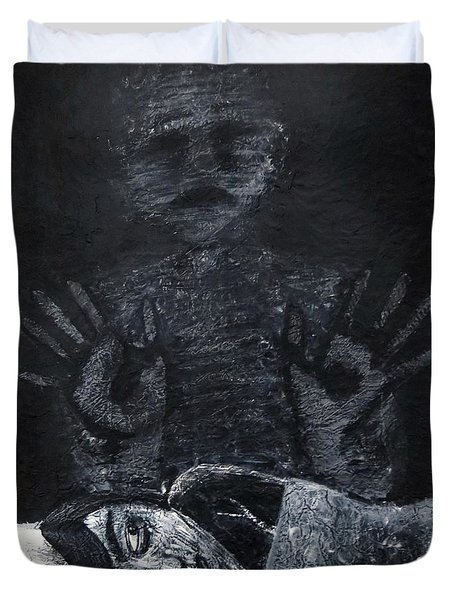 Duvet Cover featuring the painting Haunted by Teresa Wing