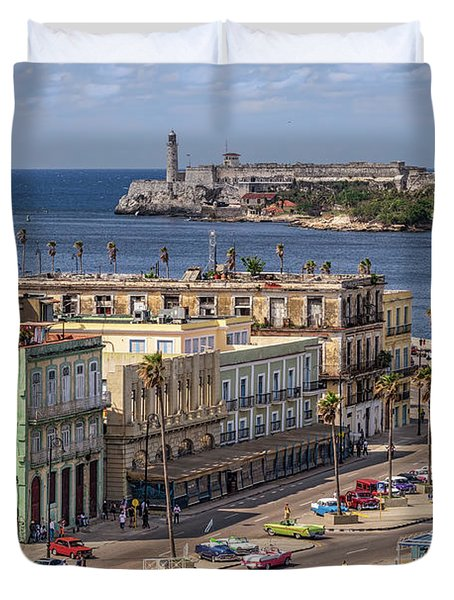 Duvet Cover featuring the photograph Havana By The Port by Steven Sparks