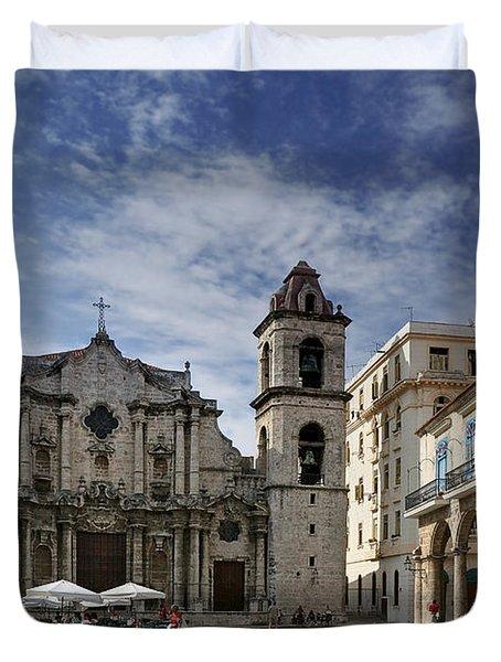 Havana Cathedral. Cuba Duvet Cover