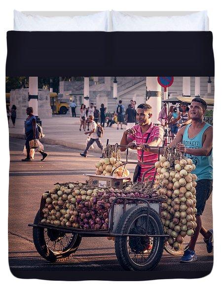Duvet Cover featuring the photograph Havana Cuba Onion Cart by Joan Carroll