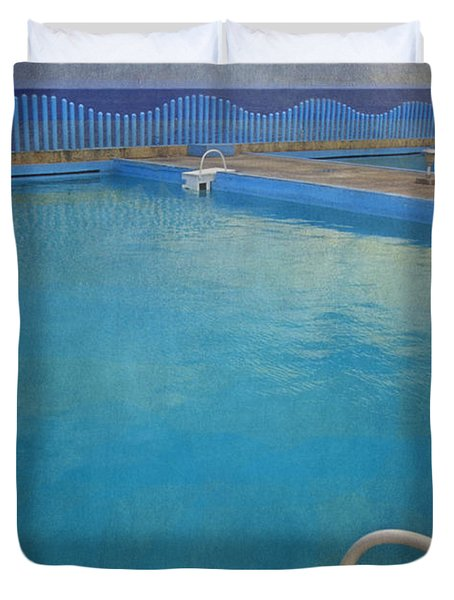 Duvet Cover featuring the photograph Havana Cuba Swimming Pool And Ocean by David Zanzinger