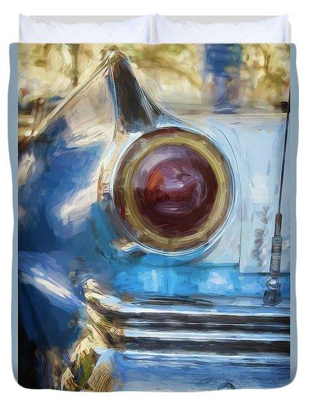 Duvet Cover featuring the photograph Havana Cuba Vintage Car Tail Light Painterly by Joan Carroll