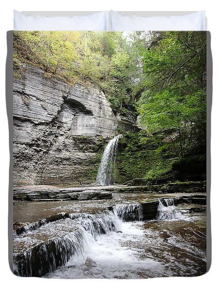 Eagle Cliff Falls II Duvet Cover by Trina  Ansel