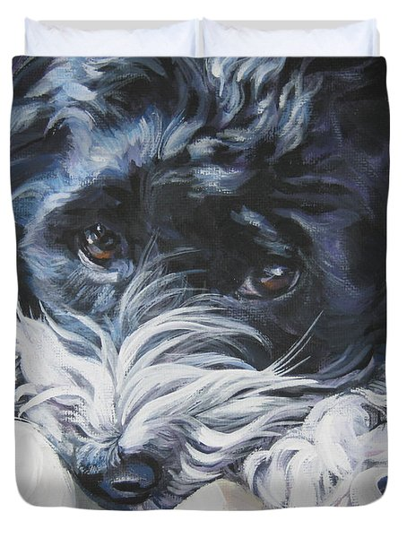 Havanese Black And White Duvet Cover
