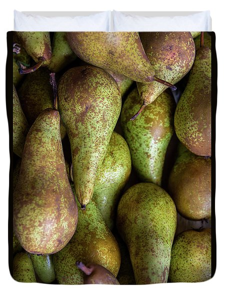 Have A Pear Duvet Cover by Sandy Molinaro