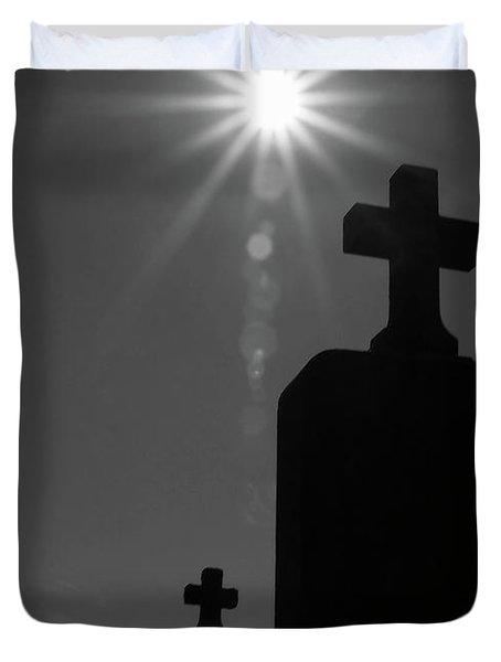 Have Faith...bw Duvet Cover by Karol Livote