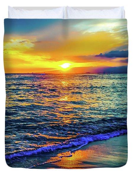 Duvet Cover featuring the photograph Hawaii Beach Sunset 149 by D Davila