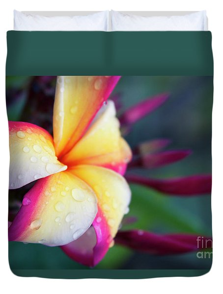 Duvet Cover featuring the photograph Hawaii Plumeria Flower Jewels by Sharon Mau