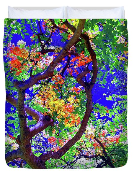 Hawaii Shower Tree Flowers In Abstract Duvet Cover