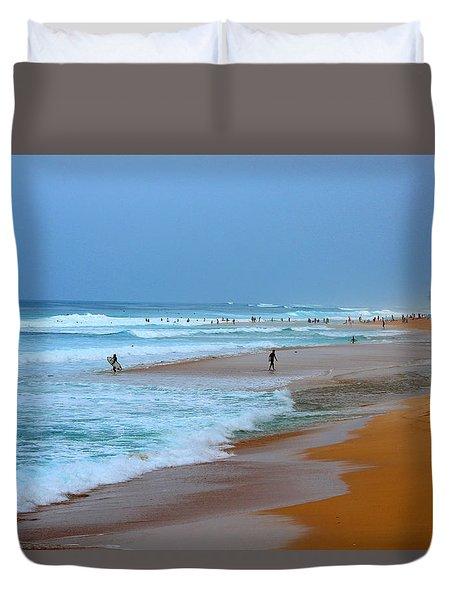 Hawaii - Sunset Beach Duvet Cover by Michael Rucker