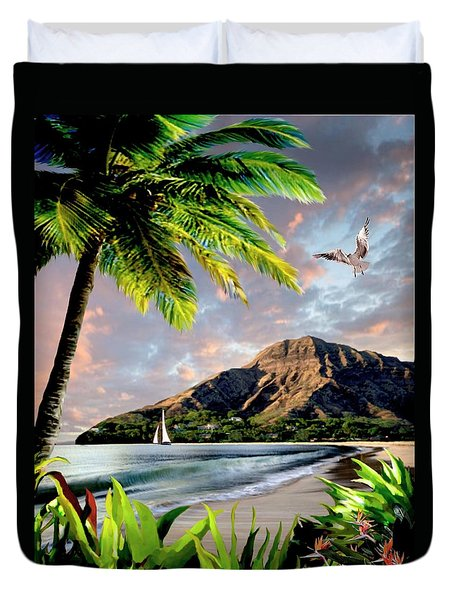 Hawaii Sunset Duvet Cover by Ron Chambers