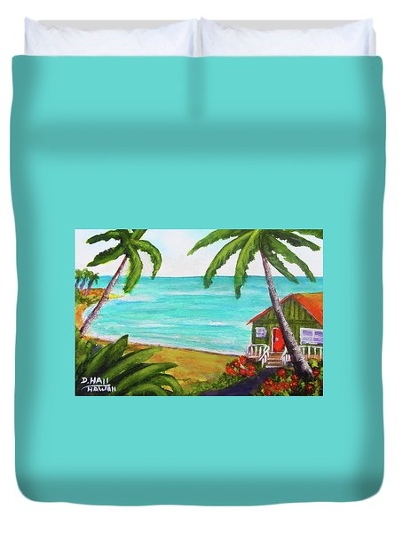 Hawaii Tropical Beach Art Prints Painting #418 Duvet Cover by Donald k Hall