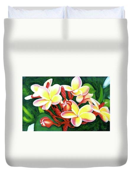 Hawaii Tropical Plumeria Flower #205 Duvet Cover by Donald k Hall
