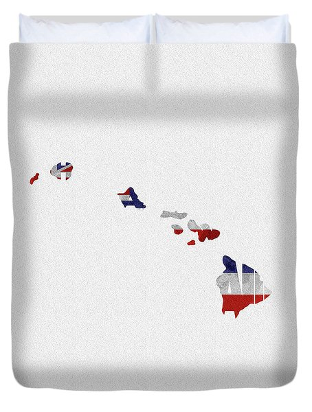 Duvet Cover featuring the painting Hawaii Typographic Map Flag by Inspirowl Design