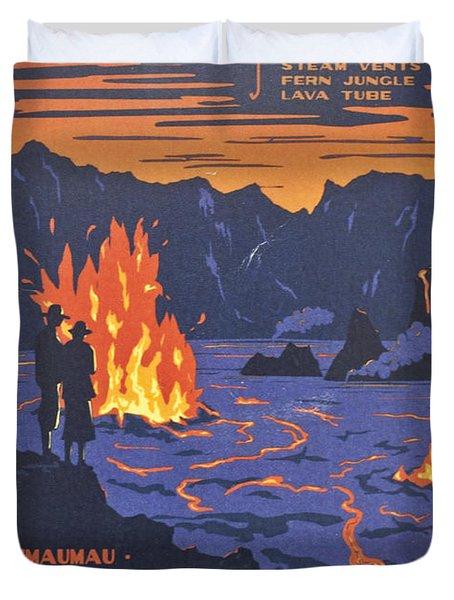 Hawaii Vintage Travel Poster Duvet Cover