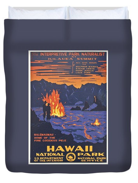 Hawaii Vintage Travel Poster Duvet Cover