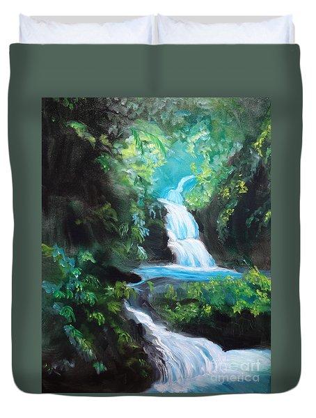 Hawaiian Waterfalls Duvet Cover by Jenny Lee