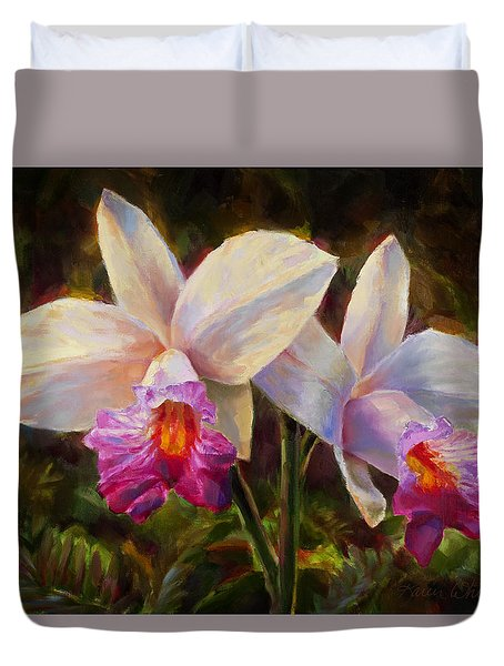 Hawaiian Bamboo Orchid Duvet Cover by Karen Whitworth