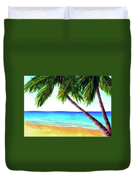 Hawaiian Beach Palm Trees  #425 Duvet Cover by Donald k Hall