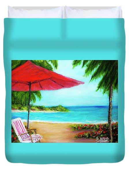 Hawaiian Beach Wave Art Print Painting #441 Duvet Cover by Donald k Hall