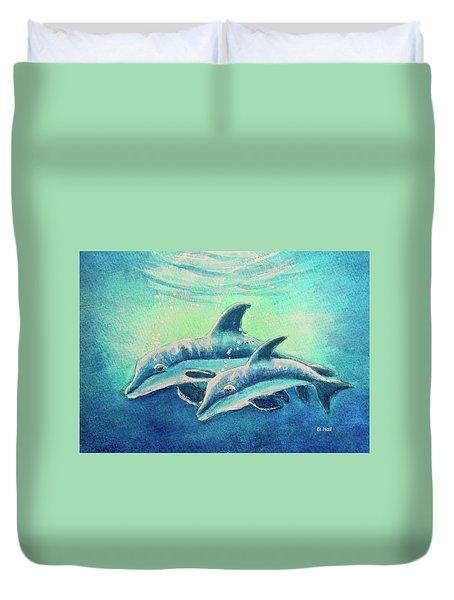 Hawaiian Dolphins  #389 Duvet Cover by Donald k Hall