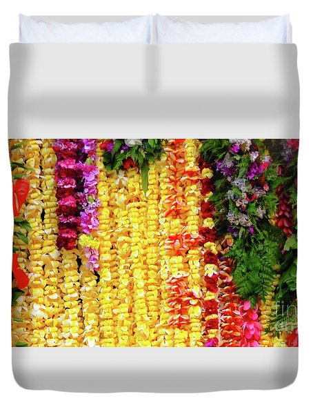 Duvet Cover featuring the photograph Hawaiian Flower Lei's by D Davila