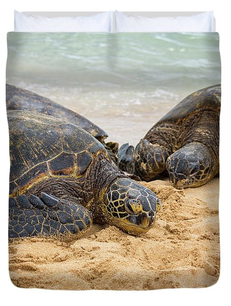 Hawaiian Green Sea Turtles 1 - Oahu Hawaii Duvet Cover by Brian Harig