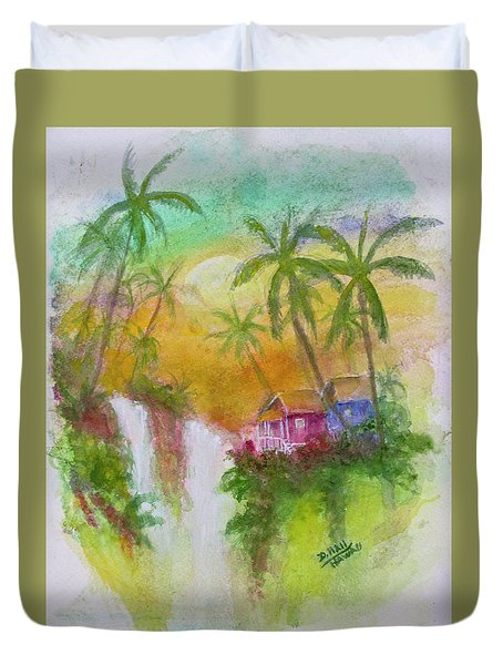 Hawaiian Homestead In The Valley #460 Duvet Cover by Donald k Hall