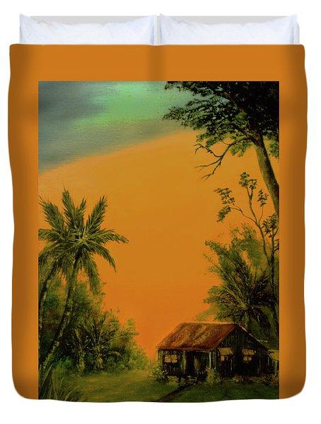 Hawaiian Homestead Sunset #05 Duvet Cover by Donald k Hall