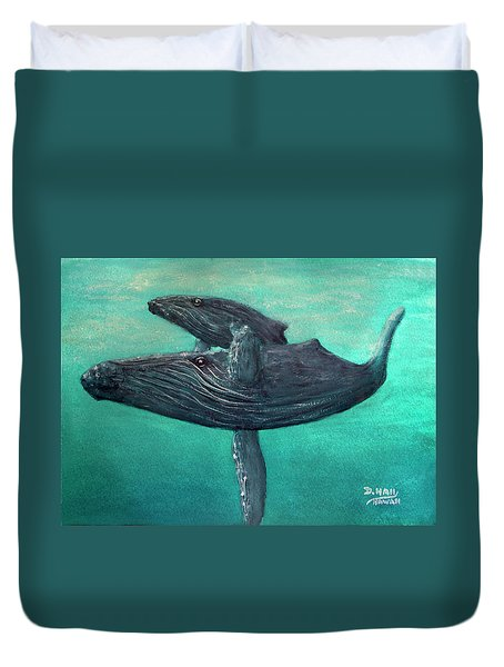 Hawaiian Humpback Whales #455 Duvet Cover by Donald k Hall
