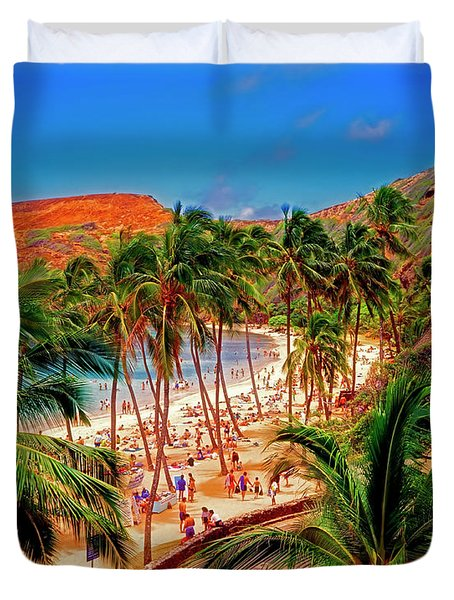 Hawaiian Islands Hanauma State Park, Beach And Underwater Park  Duvet Cover