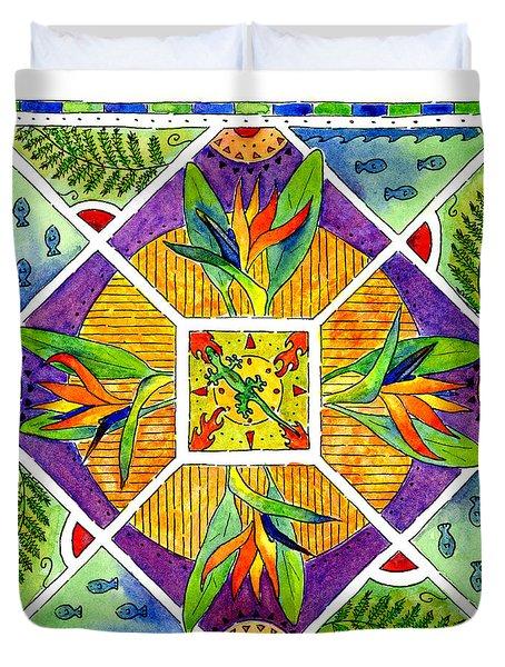 Hawaiian Mandala II - Bird Of Paradise Duvet Cover