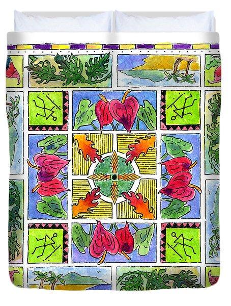 Hawaiian Mandala Iv - Anthuriums Duvet Cover