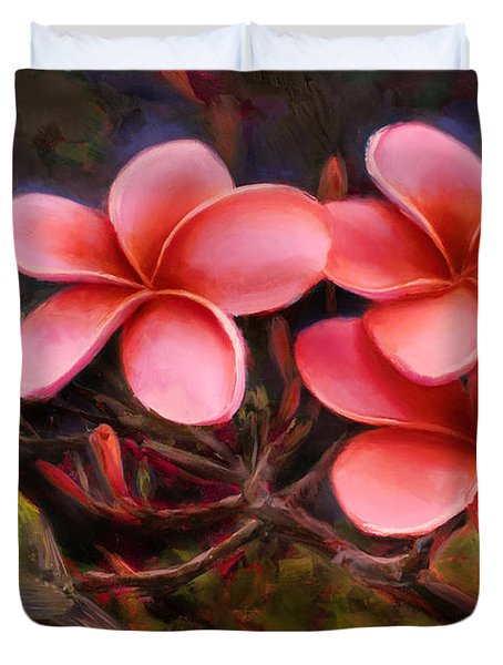 Hawaiian Pink Plumeria And Amakihi Bird Duvet Cover